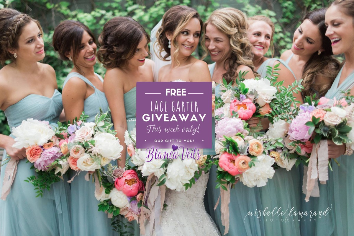 Affordable wedding veils and a FREE lace garter!